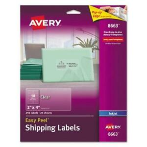 Avery 8663 Clear Easy Peel Shipping Labels 2 X 4 250 Labels ave8663