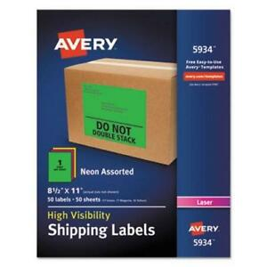 Avery Neon Shipping Label Laser 8 1 2 X 11 Neon Assorted 50 box ave5934
