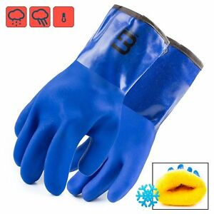 Bg Pvc Winter Gloves Chemical resistant Waterproof Lined Pvc bg12winter blue