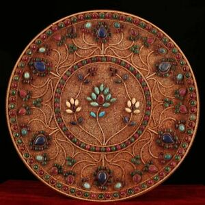 8 Nepal Old Tibetan Silver Wire Inlay Turquoise Lotus Gem Wall Hanging Plate