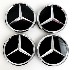 Mercedes Benz Center Wheel Caps Black Chrome 4 Pieces Full Set 75mm