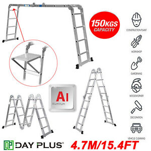 15 4ft Ladder Scaffold Attic Roof Loft Bunkhouse Collapsible With Locking Hinges