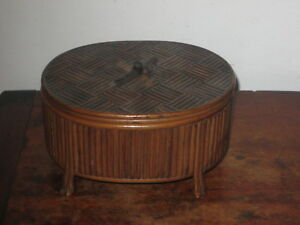 Charming Eastern Possible Japanese Rattan Cane Lacquer Box Arts Crafts