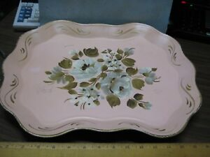 Vintage Antique Nashco Metal Tray Hand Painted Floral Shabby Chic Toleware Tole