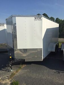 7x16 Enclosed Cargo Trailer V nose Utility Moto
