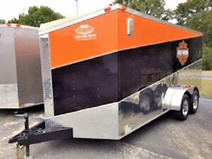 7x14 Enclosed Cargo Trailer V nose Utility Harley Davidson