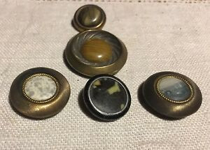 Lot Of 5 Vintage Metal Celluloid Buttons Inset Disc Brass
