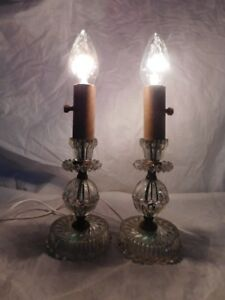 Art Deco Antique Nightstand Dresser Vanity Bedroom Lamps Glass Vintage Old Light