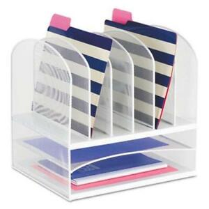 Safco Mesh Desk Organizer Eight Sections Steel White saf3255wh