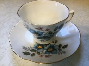 Royal Dover Bone China Cup And Saucer Blue Flowers Made In England