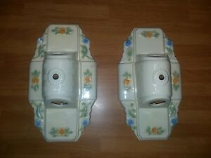 2 Vintage Art Deco Porcelain Ceramic 2 Bulb Ceiling Light Fixtures Shell Floral