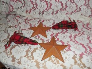 Rusty Stars For Decor Crafting Or Ornaments Flannel Wired Edge Bows