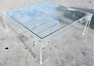 Xl Mcm Mid Century Modern Lucite Glass Acrylic Coffee Center Cocktail Table 47