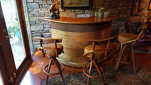 Awesome Vintage Hawaiian Mid Century Bamboo Teak Bar 3 Stools Paul Frankl