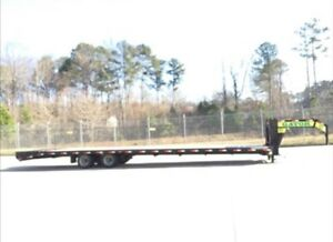 2018 Gator Made Gooseneck Flat Bed Equipment Trailer 40 Ft With Wide Ramps