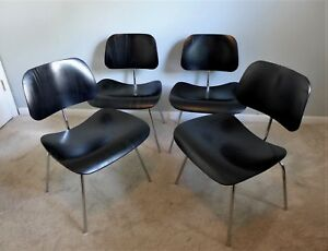 Set Of 4 Eames Dcm Chairs Authentic Herman Miller Ebony Mid Century Modern Vtg