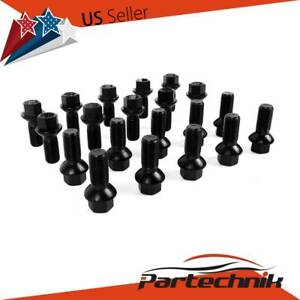 20pcs Black Wheel Lug Bolts Nuts M14x1 5 For Mercedes W163 W164 W211 W212 W219
