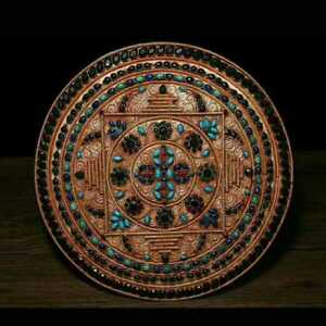 11 Nepal Old Tibetan Silver Wire Inlay Turquoise Gem Wall Hanging Plate