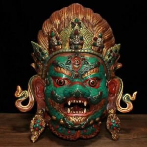 12 Nepal Old Tibet Copper Inlay Turquoise Gem Mahakala Mask Buddha Statue
