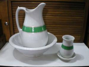 Gelson Bros Hanley Ironstone Chamber Set Basin Bowl Pitcher Toothbrush Holder