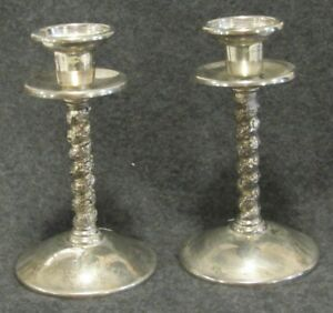 Vtg Roma Madrid Spain Silverplate Candlesticks Floral Scroll Design 5 1 2