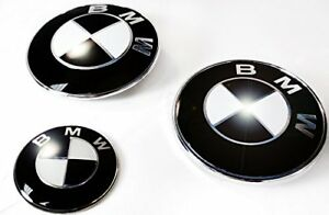 Bmw Gloss Black Emblem Sticker Roundel Overlay Complete Set Decal