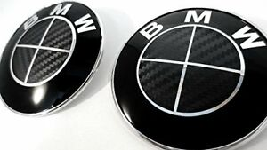 Bmw Full Black Carbon Fiber Emblem Sticker Overlay Complete Set Decal