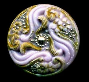 Antique Victorian Glass Button Purple Hard To Find Color