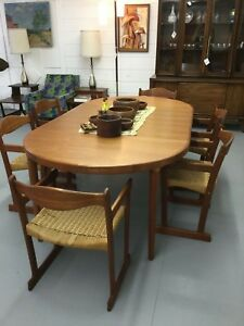 Mid Century Modern Teak Dining Table W 6 Chairs