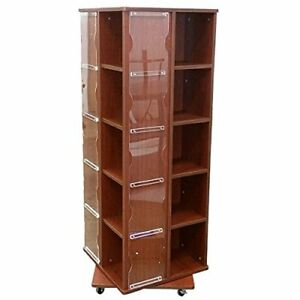 4 Side Revolving T Shirt Display With Casters In Cherry 23 1 2 w X 23 1 2 d X63