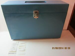 Vintage Office File Storage Lock Box With Key Dividers Expandable large