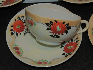 Set Of 6 Antique Tea Cups And Saucers Very Old