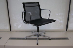 20 Icf Eames Aluminum Group Side Chair With Black Mesh
