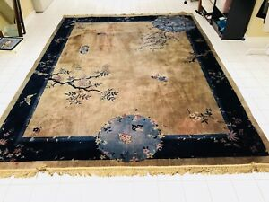 Walter Nichols Chinese Deco Antique Rug 9 5 X 11 5 Blue And Gray Asian Motif
