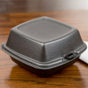 500 pack 6 X 6 X 3 Black Foam Hinged Lid Take Out Containers