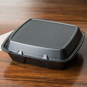 200 pack 9 X 9 X 3 Black Foam Square Take Out Containers With Hinged Lid