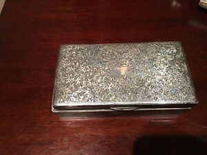 Antique Sterling Silver Cigarette Or Cigar Box Marked 950