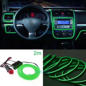 2m Green Flexible El Wire Neon Led Light Strip For Car Jeep Pickup Truck Rv Suv