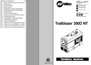 Miller Trailblazer 300d Nt Service Technical Manual
