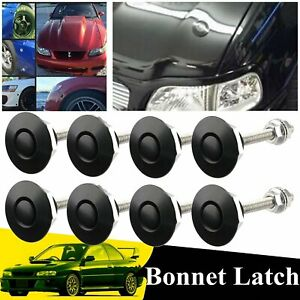 8pcs 1 25 Car Push Button Quick Release Latch catch Bonnet Hood Lock Clip Black