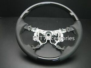 For Toyota Highlander 2008 2013 Wood Leather Steering Wheel black Piano