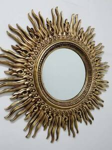 Vintage Mid Century Modern Oversized Brutalist Art Sunburst Mirror Foyer Mantle