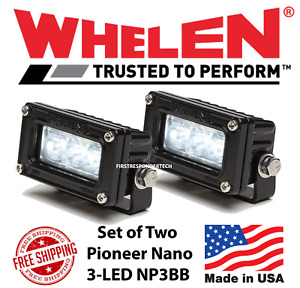 Pair Of Whelen Pioneer Nano Black 3 Led Spot Flood Lights Np3bb
