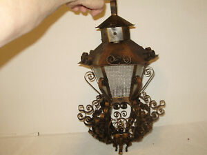 Antique Spanish Heavy Copper Metal Hanging Light Thick Clear Glass Perfect