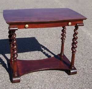 Antique Early 1900 S Mahogany Tapered Barley Twist 1 Drawer Table