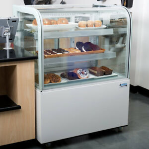 36 Curved Glass White Refrigerated Bakery Display Case With Led Lighting 115v