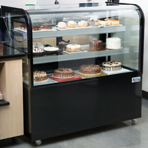 48 Curved Glass Black Refrigerated Bakery Display Case With Led Lighting 115v