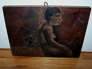 Hand Carved Art Wood Slab Nude Woman Figure Portrait 10 X 13