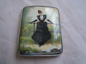 Antique Sterling Silver George Heath London Enamel Cigarette Case 1890