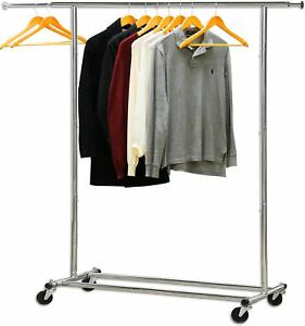Heavy Duty Clothing Garment Rolling Organizer Storage Collapsible Rack Chrome